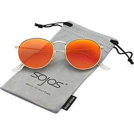 SojoS Small Round Polarized Sunglasses Mirrored Lens Unisex