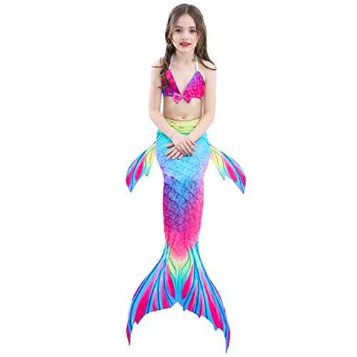 3PCS Girls Swimsuit Mermaid Tail Bathing Suite