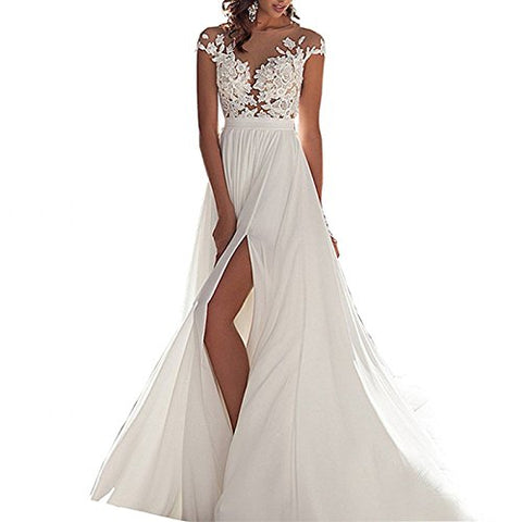 Women's  Chiffon Beach Wedding Dress Long - Lower price available on select sizes $85.99 - $89.00