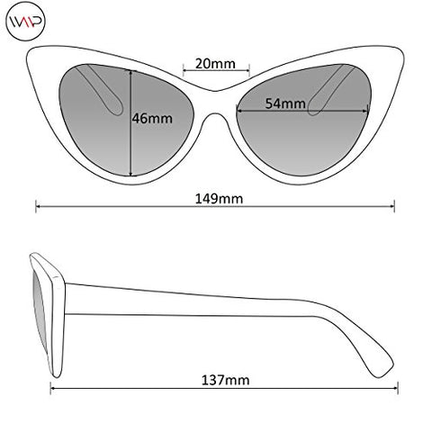 Womens Cat Eye Mirrored Revo Reflective Lenses Oversized Cateyes Sunglasses (Marble White Frame/Mirror Pink Lens, 54)