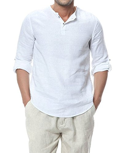 Men's 100% Linen Collarless Button Henley