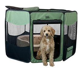 Pet Gear Travel Lite Portable Play Pen/Soft Crate with Removable Shade Top for Dogs/Cats/Rabbits, Easy-Fold + Built-in Stay Fold Band, Durable 600D Fabric, Indoor/Outdoor, 3 Sizes