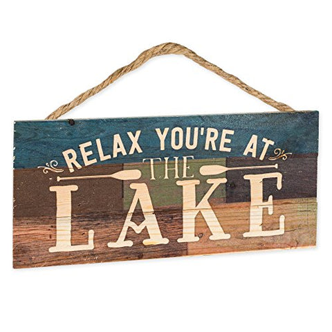 Relax You're at the Lake 5 x 10 Wood Plank Sign