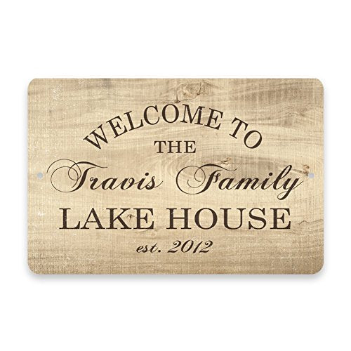 Personalized Wood Grain Welcome to the Family Lake House Metal Room Sign