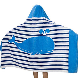 100% Cotton  Hooded Poncho Towel for Kids