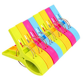 Colorful Beach Towel Clips for Beach Chair or Pool Loungers (8 Pack)