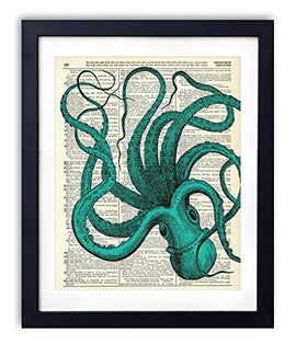 Blue Octopus Upcycled Vintage Dictionary Art Print
