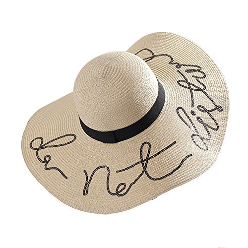 Weaved Embroidered Adjustable Floppy Sun Hat