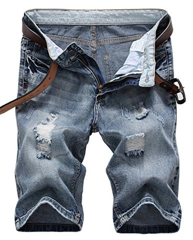 Men's Fashion Ripped Distressed Straight Fit Denim Shorts