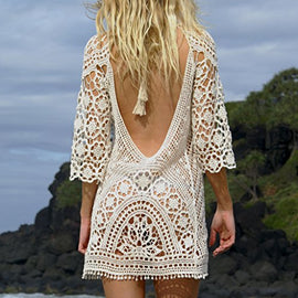 White Backless Crochet Bathing Suit Cover Up