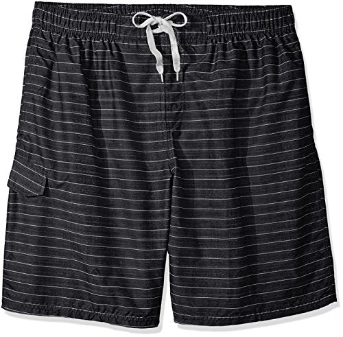Kanu Surf Men's Big Line up Extended Size Quick Dry Beach Shorts Swim Trunk, Black, 3X