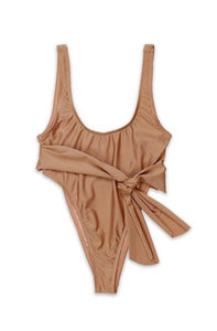 Beige One Piece Swimsuit