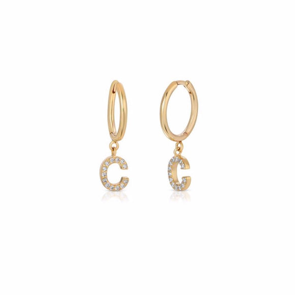 Diamond Initial Huggie Hoops