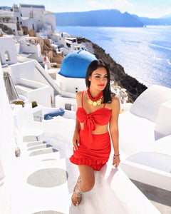 """Valentina"" Two Piece set, Rose Pedal Red."