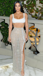 """Aria"" Two Piece Set, White Top Glitter Skirt"