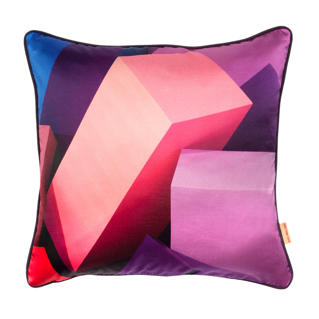 Purple Blocks Silk Cotton Square Cushion. Only 1 left