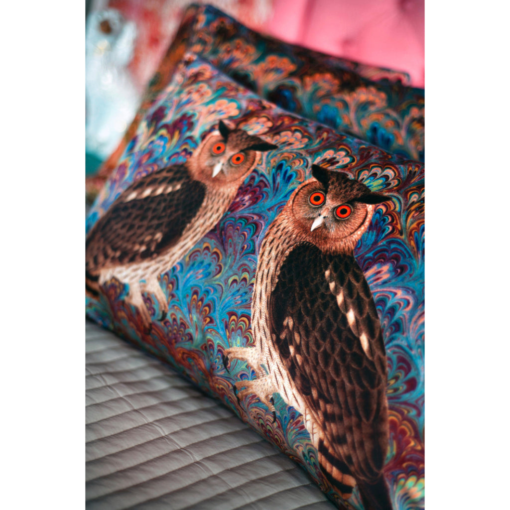 Teal Twin Eagle Velvet Large Oblong Cushion