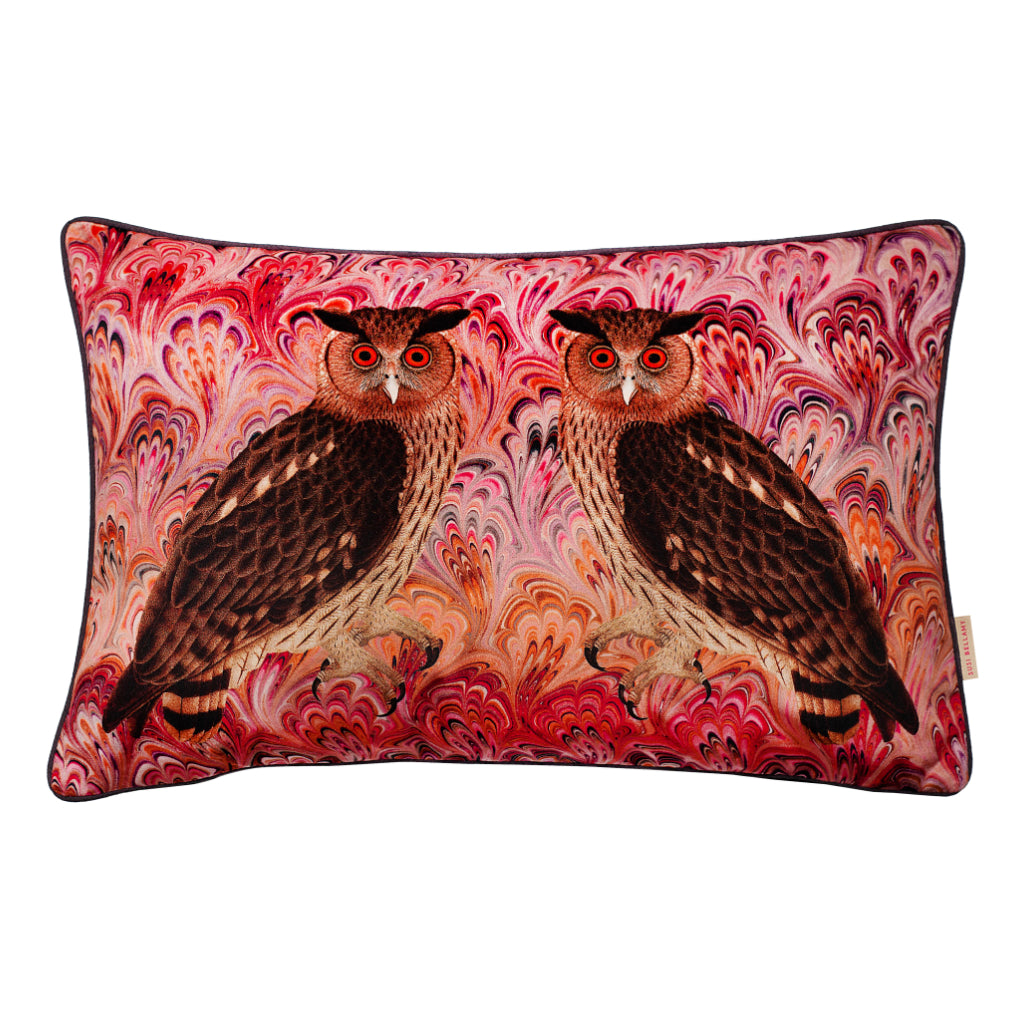 Blush Twin Eagle Owl Velvet Large Oblong Cushion