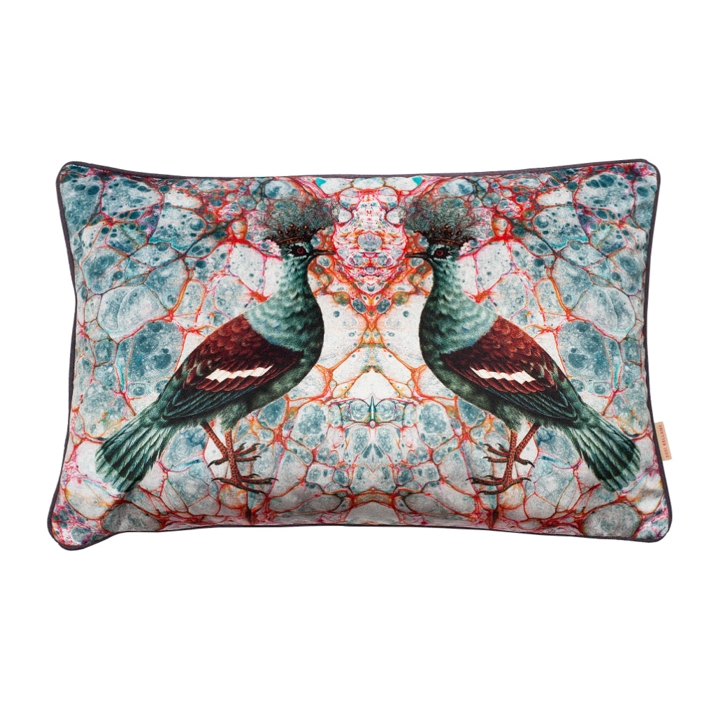 Blue Twin Crowned Pigeon Velvet Large Oblong Cushion