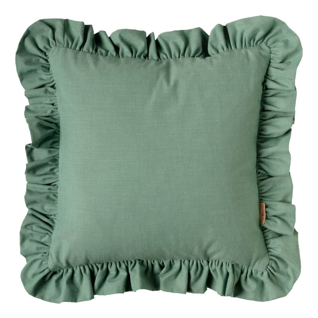 Pine/Eggplant Ruffled Cotton Cushion