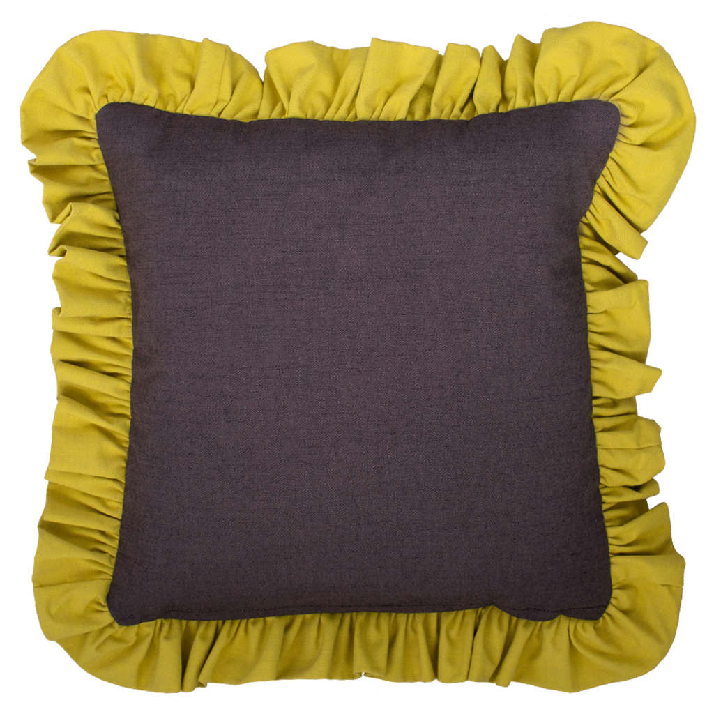 Starfruit/Eggplant Ruffled Cotton Cushion