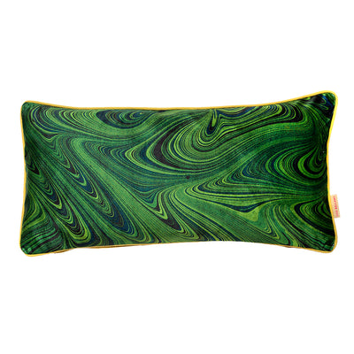 Malachite Marbled Velvet Oblong Cushion