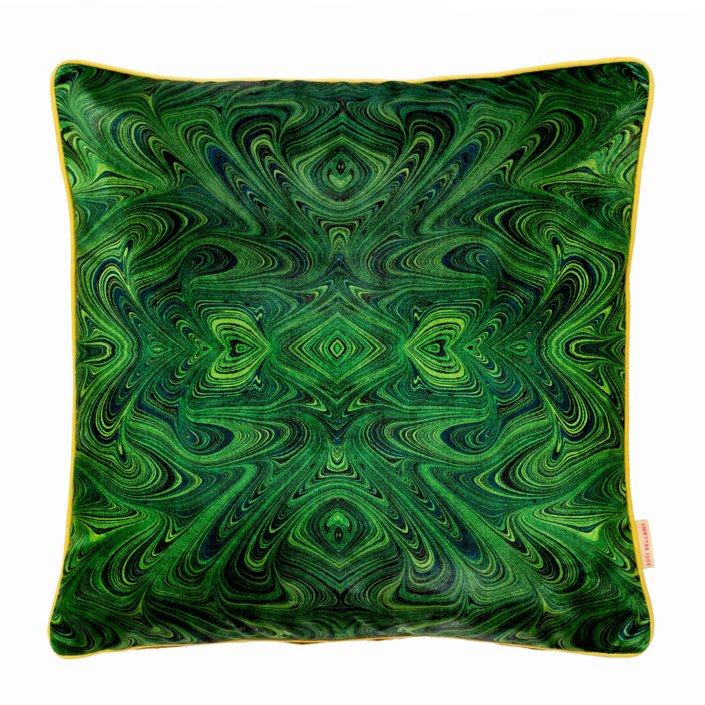 Malachite Kaleidoscope Marbled Velvet Oblong Cushion