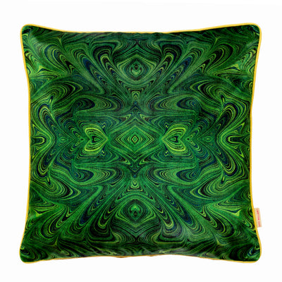 Malachite Kaleidoscope Marbled Velvet Cushion