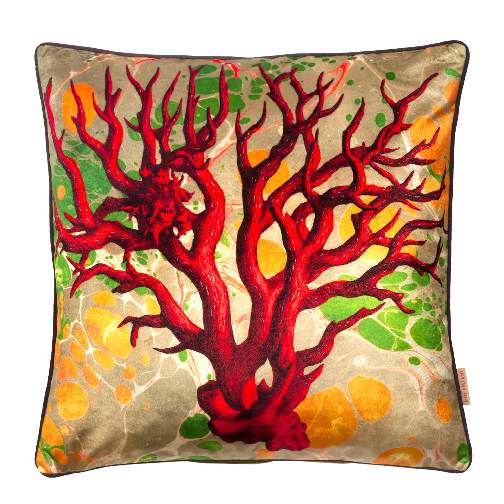Marbled Coral Velvet Square Cushion