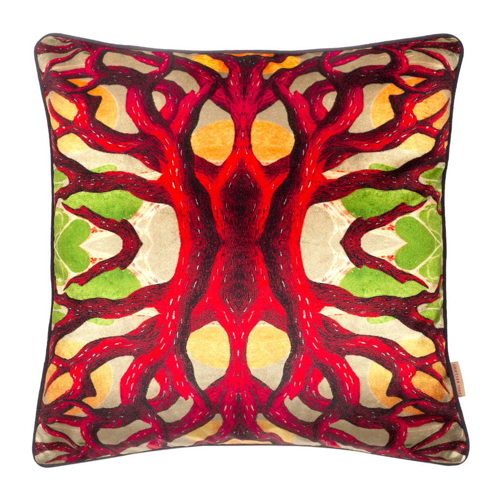 Heart of Coral Velvet Square Cushion