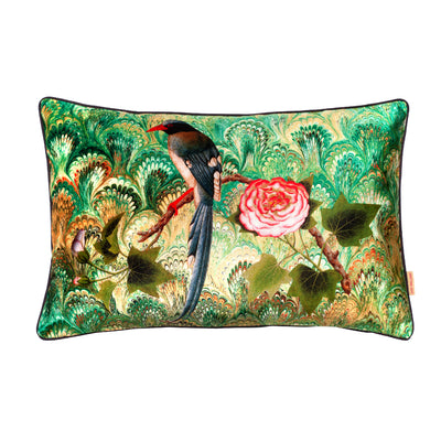 Bird and Rose Collage Velvet Large Oblong Cushion