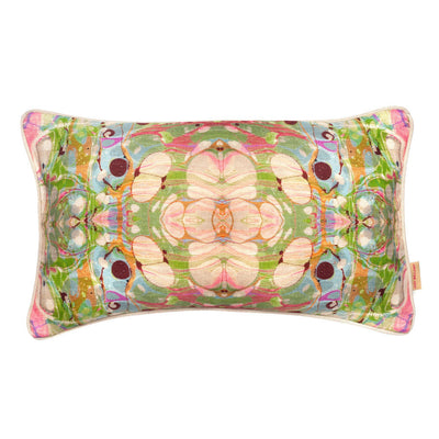 Beige Ripple Kaleidoscope Marbled Linen Medium Oblong Cushion