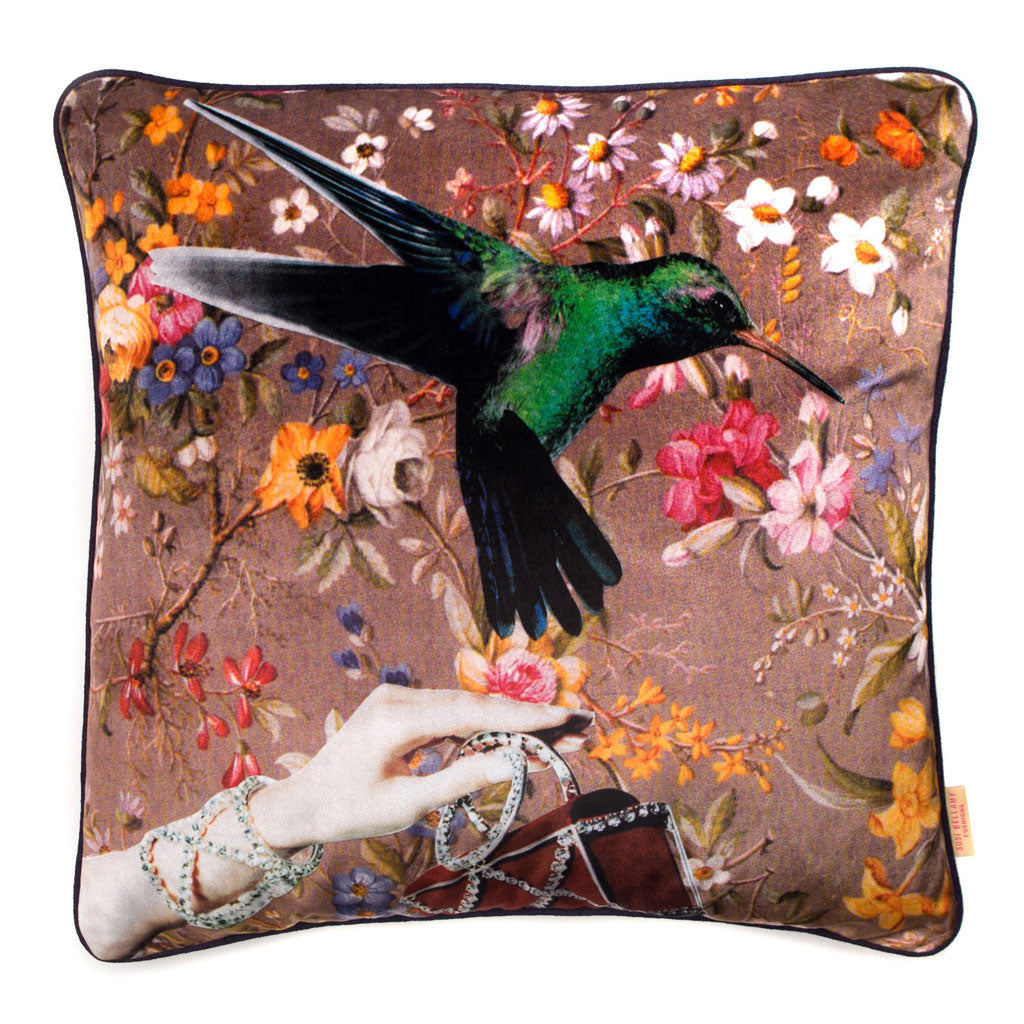Bird and Hand Collaged Velvet Square Cushion