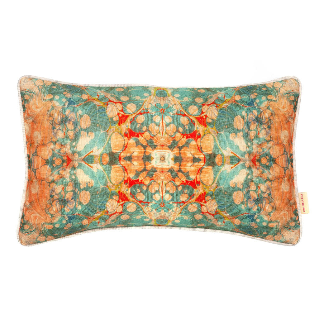 Fantasy Tapestry Kaleidoscope Marbled Linen Medium Oblong Cushion