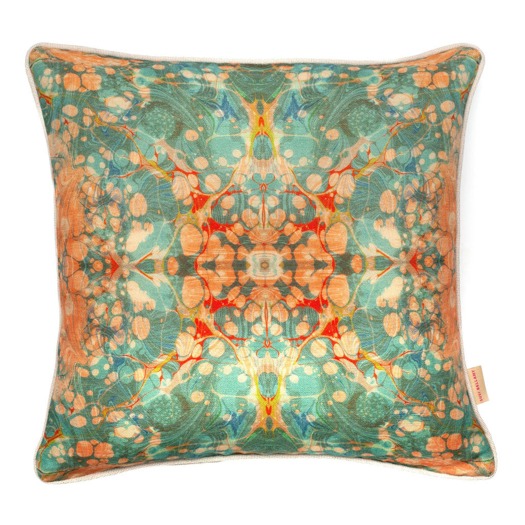 Fantasy Tapestry Kaleidoscope Linen Square Cushion
