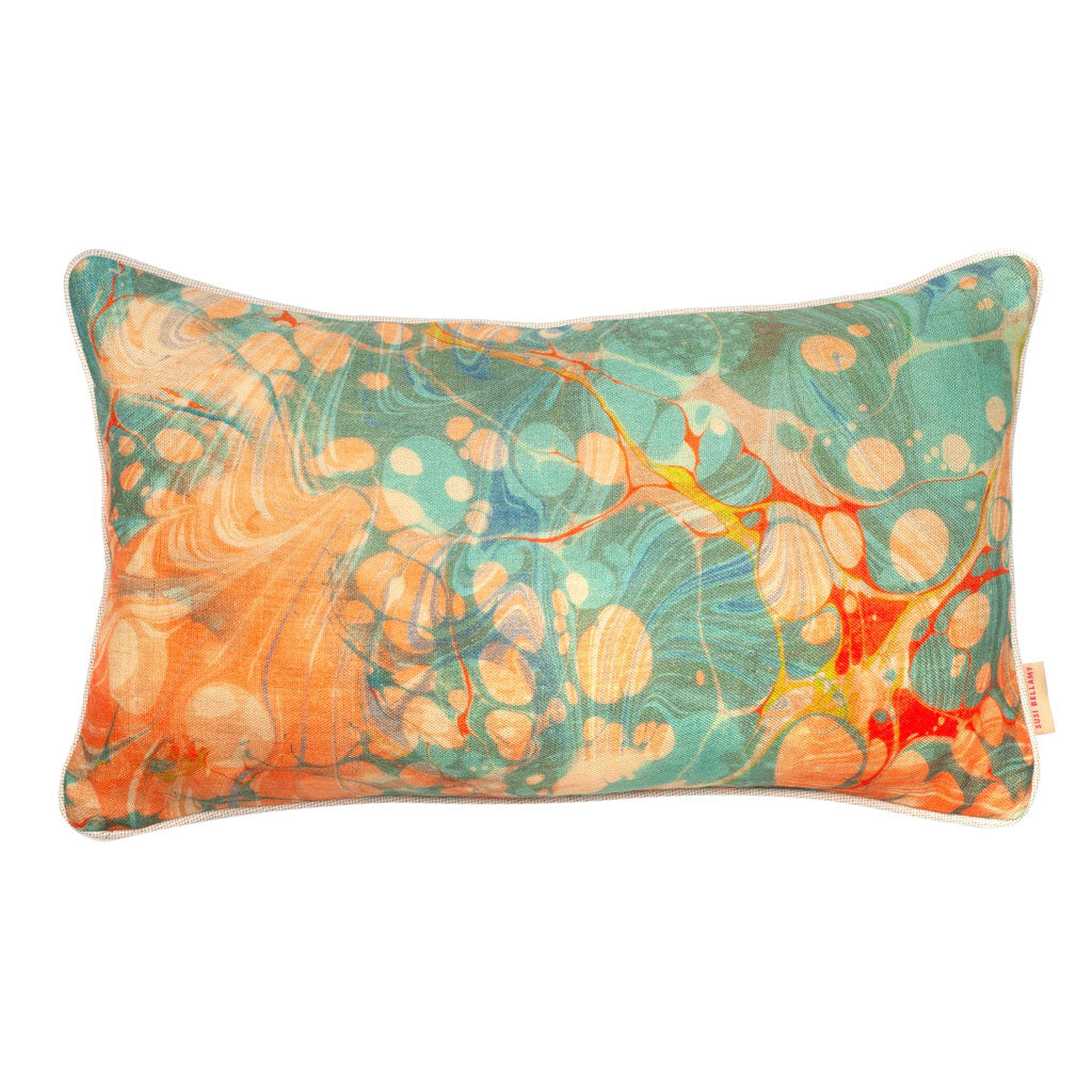 Fantasy Tapestry Marbled Linen Medium Oblong Cushion