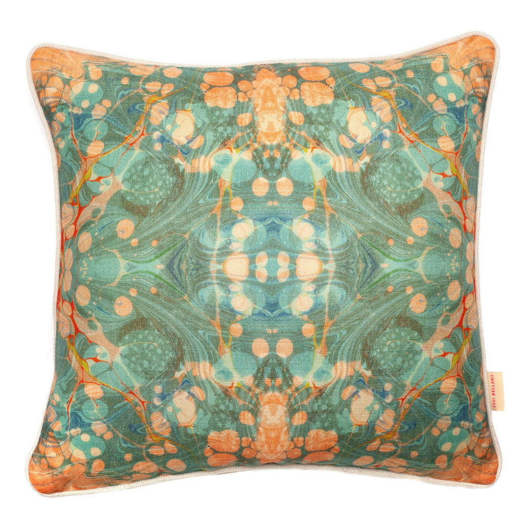 Fantasy Tapestry Mirror Marbled Linen Square Cushion