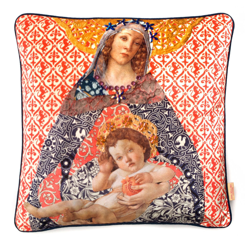 Florentine Madonna Collage Velvet Square Cushion