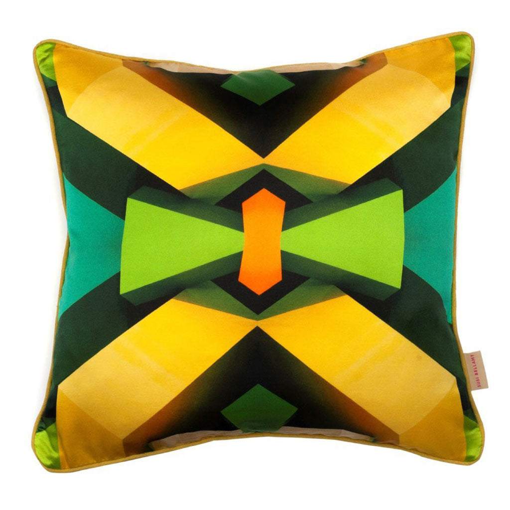 Green Blocks Kaleidoscope Silk Cotton Square Cushion