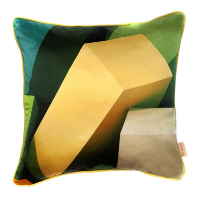 Green Blocks Silk Cotton Square Cushion