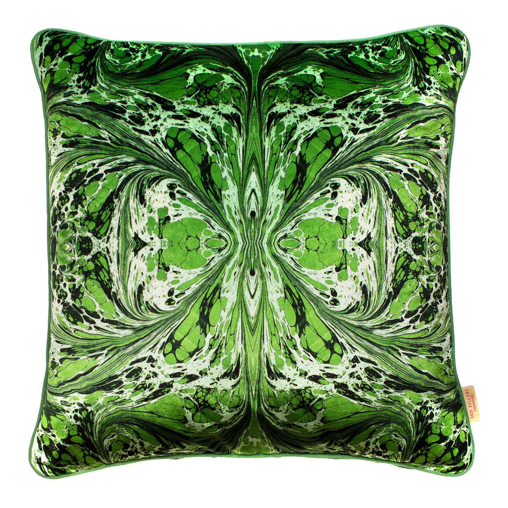 Green Fantasy Kaleidoscope Velvet Square Cushion