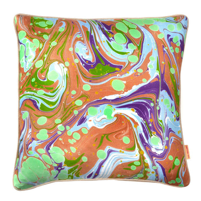 Green Slick Marbled Cotton Square Cushion