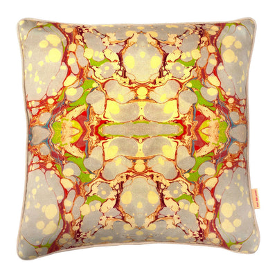Grey Organic Kaleidoscope Marbled Cotton Square Cushion