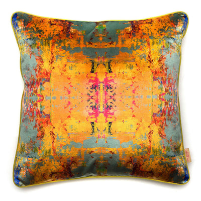 Grey Stucco Kaleidoscope Square Velvet Cushion