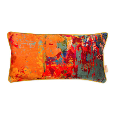 Grey Stucco Velvet Medium Oblong Cushion