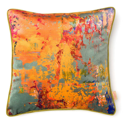 Grey Stucco Velvet Square Cushion