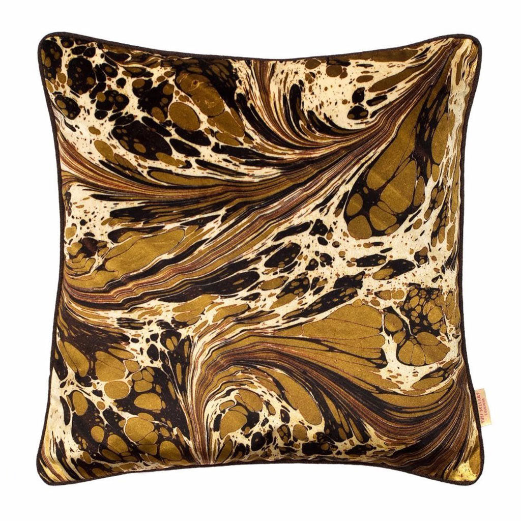 Khaki Brown Fantasy Marbled Velvet Square Cushion