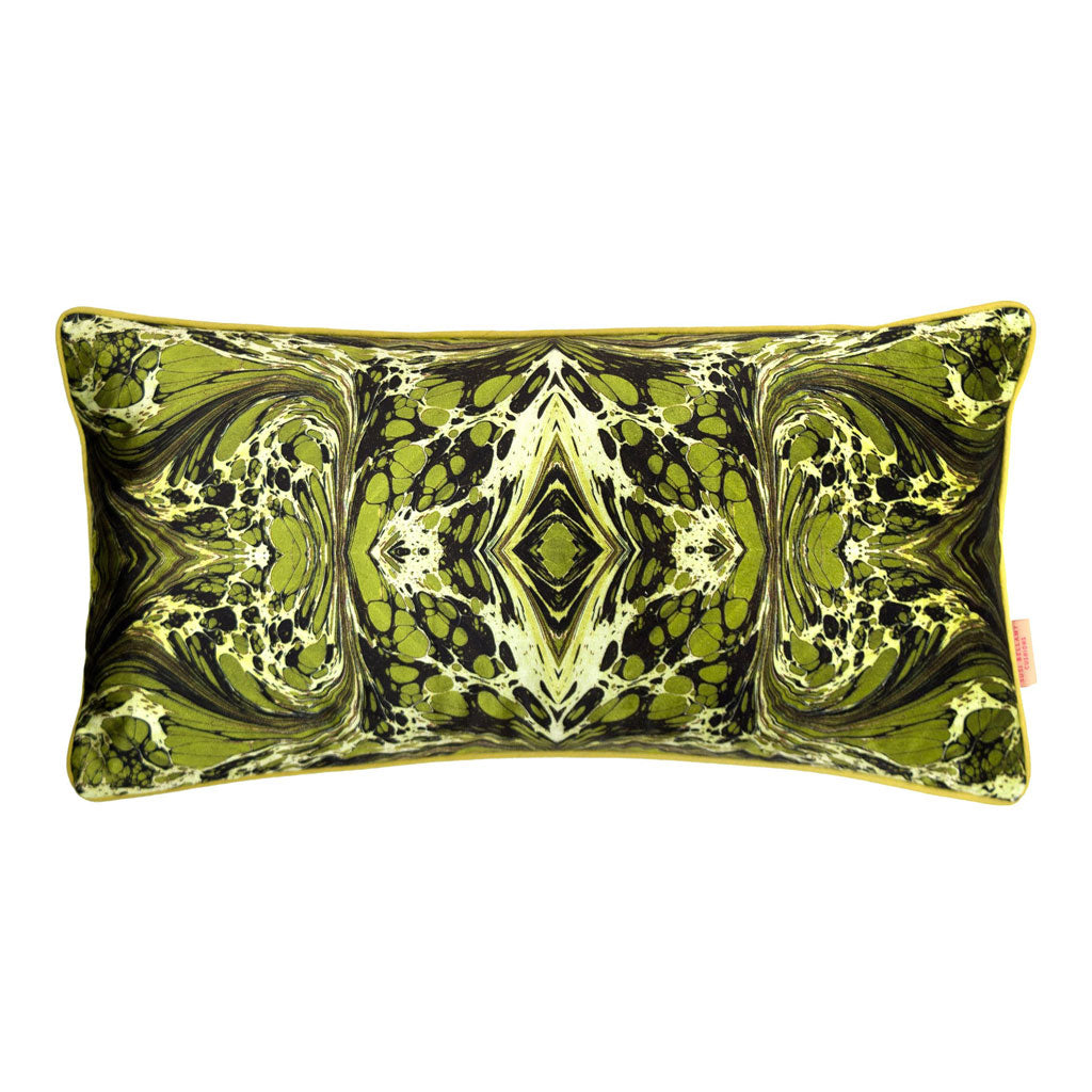 Khaki Fantasy Kaleidoscope Marbled Velvet Medium Oblong Cushion