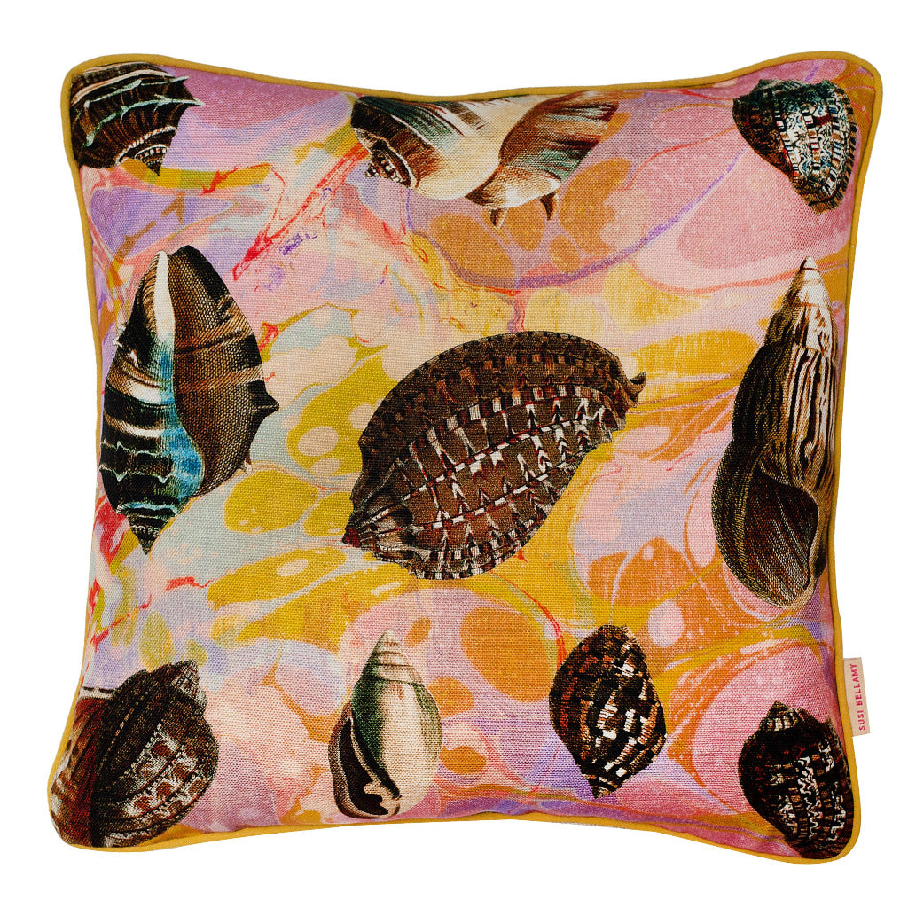 Lavender Tapestry Shells Linen Small Square Cushion