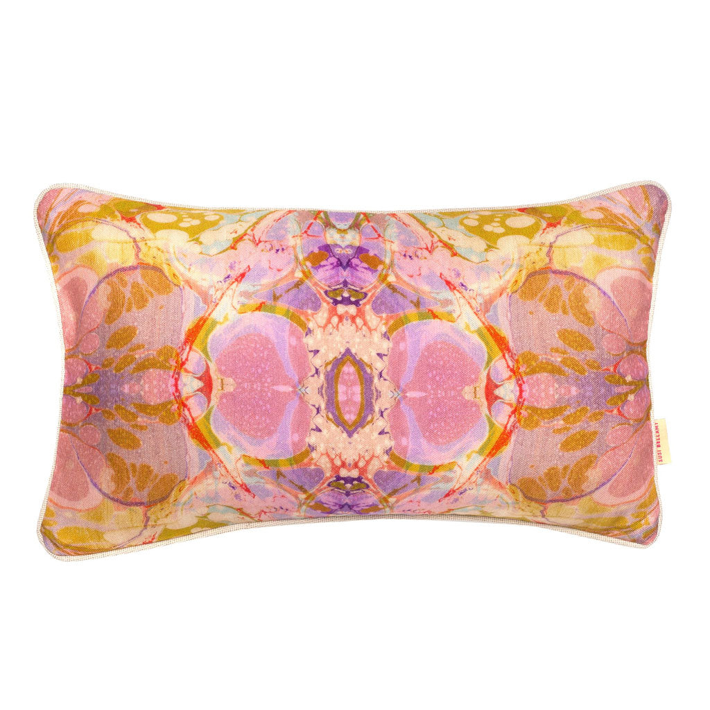 Lavender Tapestry Kaleidoscope Marbled Linen Medium Oblong Cushion